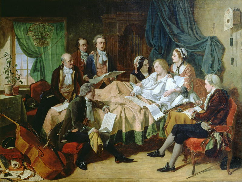 Mozart on his Deathbed by Henry Nelson O'Neill