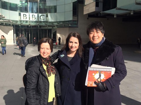 With pianist Lang Lang outside BBC studios