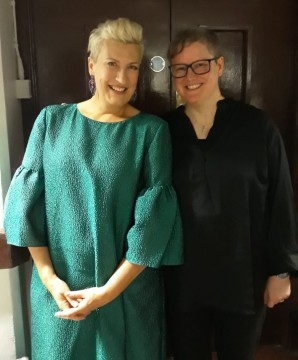 Susi with Dame Sarah Connolly after the choir's Verdi Requiem Prom