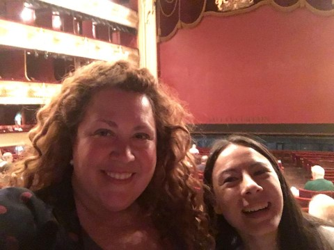 Meg with travel buddy soprano Alana at the Royal Opera House