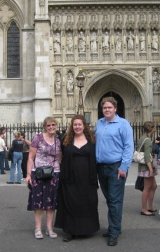 Meg with Mike and his mum after singing at Westminster Abbey