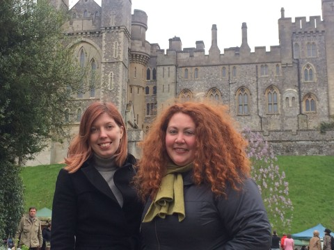 At Arundel Castle with flatmate Rochelle